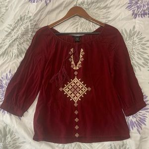 Red flow blouse
